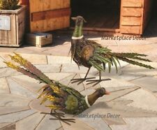 Fall Pheasant Pair Garden Statues Handcrafted Metal Thanksgiving Holiday Decor