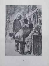 Die Bilderfreunde von Honoré Daumier - Kupfertiefdruck aus 1942 Karikatur print