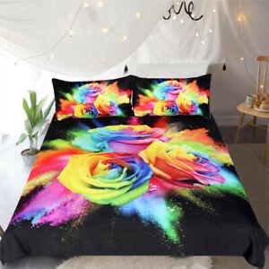 Bedclothes Duvet Cover Set Colorful Roses Microfiber Watercolor Home Textile New