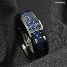 8/6mm Tungsten Carbide Ring Black Celtic Dragon Blue carbon fibre ATOP Jewelry
