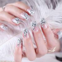 24Pcs Silver White False Nails Acrylic UV Gel Full French Fake Art Tips Tool ER