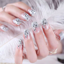 24Pcs Silver White False Nails Acrylic UV Gel Full French Fake Art Tips To Eh