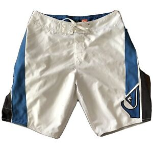 Quicksilver Men's White And Blue Board Shorts Sz 30 EXCELLENT CONDITION