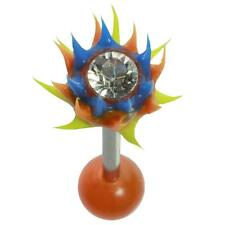 Yellow Uv Hellfire Straight Barbell 14G 5/8 Blue, Orange and