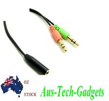 Smartphone Headset To PC Adapter Audio Cable 3.5mm Female To 3.5mm Dual Male