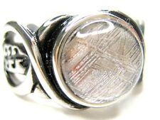 10/ T1/2  NATURAL 10MM GIBEON METEORITE STAINLESS STEEL MENS RING