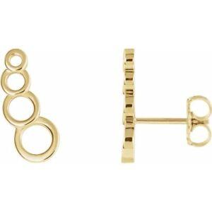 Circles Ear Climber Earrings 14K Yellow Rose Or White Gold Trending