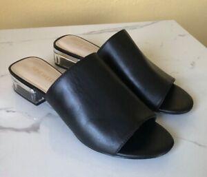 Nine West Women's Clear Block Heel Open Toe Slide Sandals Leather-Black Sz US 8M