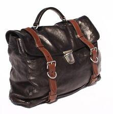 Mens Prada Brown Leather Cartella Messenger bag