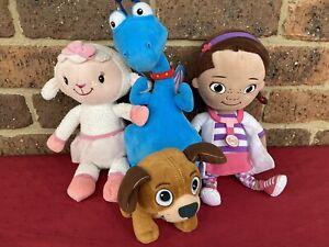 Doc McStuffins Doll, Stuffy Dragon, Lambie, Findo Dog Plush Toys Disney Bundle