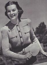 Vintage Knitting PATTERN to make 40s Ribbed Cardigan Sweater Shorty Jacket Arrow