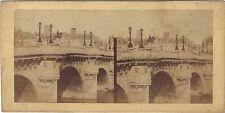 Paris Le Pont Neuf Satue Henri IV Stéréo Vintage ca 1860