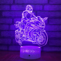 Ride Motorcycle 3D Night Light 7 Color Change LED Desk Lamp Touch Room Decor