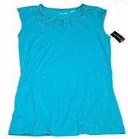 INC International Concepts L Green Sleeveless Blouse Jersey Knit Tank Top Laces