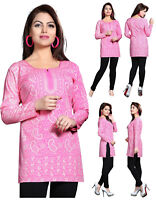 UK STOCK Pink Women Casual Indian Short Kurti Tunic Kurta Top Shirt Dress 123A