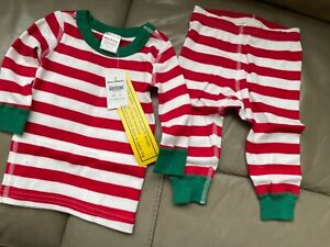 NWT Hanna Andersson Green White Red Striped Top Pants Pajamas 60 3-6 M Set