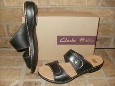 New Clarks Leisa Lacole Slide Sandal Lady 10 M/24793 Black Leather $70