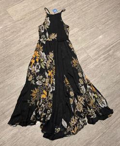 Intimately Free People Sz XS Black Floral Smock Front Midi Maxi Sun Dress