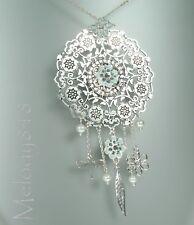 Pilgrim Disc Necklace Bohemian Silver Flower Charm Blue Swarovski Enamel