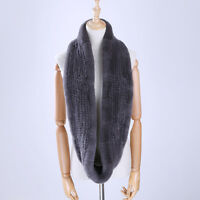 Women's Genuine Real Rex Rabbit Fur Hand Knitted Scarf Infinity Cowl Ring Scarve