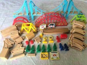Lot 60+ Thomas Friends Compatible Wooden Train Track Lot: 8 Bridges, 38 Rails.