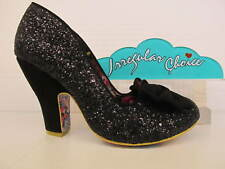 Irregular Choice Nick Of Time Bow Glitter Vintage Heel Court Shoe
