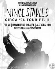 """Vince Staples """"Circa '06 Tour Pt. ll"""" 2016 Portland Concert Poster-Hip Hop Music"""