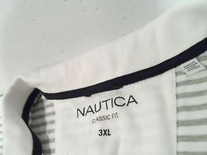 Nautica Men's Shirt Size 3XL Classic Fit Striped White Gray S/S Pique Polo Top