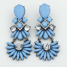 Elegant Women Luxury Big Blue Dangle Earrings Flowe Leaf Pattern Stud Jewelry