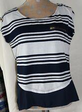 Women/'s Rue 21 Black /& White Blend Stripe Short Sleeve Stretchy Top Sz S M XL
