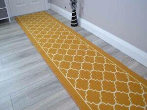 Gold New Trellis Hall Hallway Corridor Wide Narrow Floor Carpets Rugs Cheap