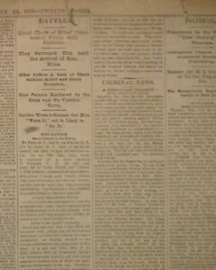 1879 Chicago Newspaper - Sitting Bull's Natives Harass Col Miles' Army Troops
