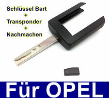 Ersatz Schlüssel Bart + Transponder Nachmachen für OPEL MERIVA AGILA COMBO CORSA
