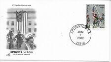 US Scott# B2, Primo Giorno Cover 6/7/02 Arlington Singolo Heroes Of 2001