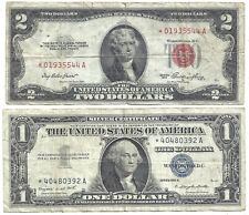 1953 $2 RED! 1957A $1 SILVER! (~2 *STAR* Notes~) Old US Paper Money Currency!