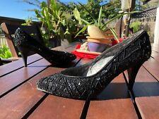 EUC BLACK SEQUENNED *CAPARROS* 8.5cm HEELS - Size 37