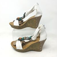 Patrizia by Spring Step Pegasus Wedge Sandals 7.5 Womens T-Strap Beaded White
