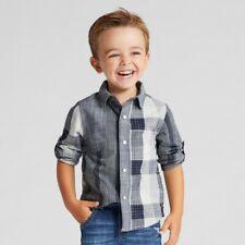 Genuine Kids Toddler Boys Button Down Long Sleeve Shirts, Gray, 18M