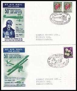 Pair of 1970 New Zealand 50th Anniv First Crossing Cook Strait by Air Covers