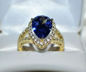 7.67ct PREMIUM AAA TANZANITE & 36 DIAMONDS WEDDING GYPSY 14K YELLOW GOLD FILL 8.
