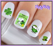 24 Nail Decals #7512 St Patricks Kiss Me Clover Dog Waterslide Nail Art Transfer
