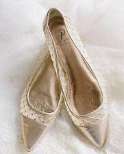 03752b31b0638 Adrianna Papell Jewel Pointy Toe Ballet Flats Gold Metallic Mesh Cap Toe Sz 9  39