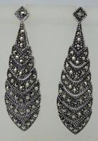 Brand New Stunning Sterling Silver Marcasite Drop Earrings, 10.1 Grams