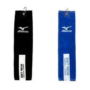 """Mizuno Tri Fold Golf Towel Cotton Clip Attachable Large 16"""" x 21"""""""