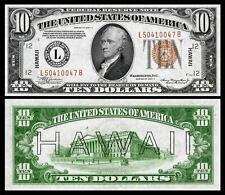 NICE CRISP UNC. 1934 $10.00 US HAWAII OVERPRINT COPY PLEASE READ DESCRIPTION