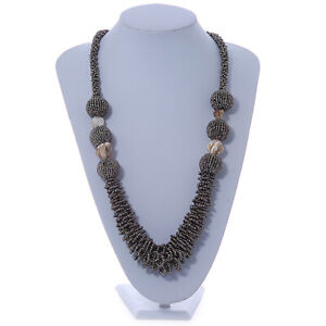 Graduated Glass Bead Chunky Long Necklace/ Metallic Grey Coloured/ 70cm L