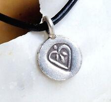 Klein massiv Silber Anhänger Herz rund Muster Handarbeit Kettenanhänger Antik