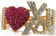 I Heart You Pink Crystal Heart Hinged Bracelet Gold Tone Metal