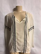 BRAND NEW PINKY BRAND WHITE SHEER PEASANT STYLE LONG SLEEVE BLOUSE SIZE LARGE