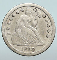 1858 UNITED STATES US Silver SEATED LIBERTY Vintage Antique OLD Dime Coin i90299